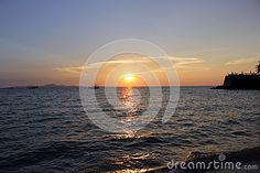 Thailand sunset on beach spring