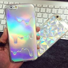 Hot Hologram Iridescent 3D Diamond Rainbow Opalescent Triangle Pastel Metallic Oil Print PC Shell Case For APPLE iPhone 6 6plus on sale @3.83usd free shipping!!!