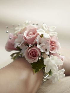 Pale pink and crystal mother of the bride wrist corsage with diamanté bracelet