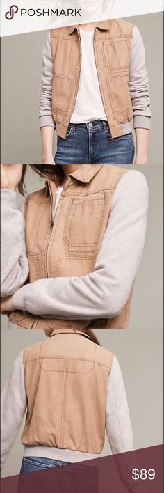 "Anthropologie Jacket - Small Cotton Front pockets Zip front Regular: 22.25""L Anthropologie Jackets & Coats"