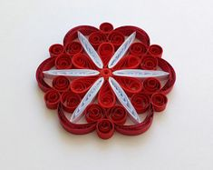 Quilled Snowflakes Paper Quilling Art Christmas Tree Decor Winter Hanging Ornaments Gifts Toppers Mandala Office Corporate Red White