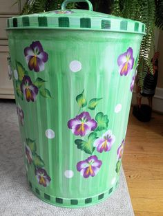 Hand Painted Galvanized  Metal   20 Gallon  by krystasinthepointe, $109.00