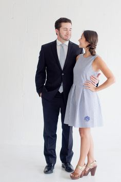Free Shipping Navy Seersucker Dress Ladies Easter Dress with monogram Custom boutique Spring wedding bridesmaid dress by CentralBoutique on Etsy