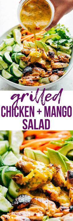 Grilled Chicken Mango Salad with Mango Cilantro Dressing is loaded with cucumbers, peppers, avocado and has a crazy good dressing that doubles up as a marinade! Uses barbecued and grilled chicken and an easy dressing. Gluten Free, Paleo, Dairy Free, Healt