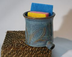 Sink Pot for draining scrubbies blue & brown by monikaspottery, $25.00
