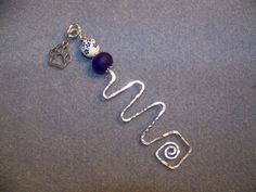 Bookmark ~Dog Paw Charm OR charm of your choice ~hammered wire & blue beads; book marker; wire bookmark; beaded bookmark; charm bookmark