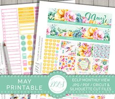 Erin Condren May Stickers May Monthly Planner Kit ECLP May