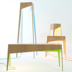 The Fiss Family consists of four wood tables, each a different size with a pop of color – blue, yellow, green, or orange.