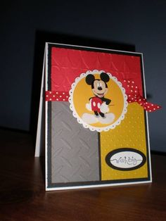 I couldnt make a Minnie mouse card and not make a Mickey mouse card. Love these colors for Mickey cards and love the 3 different cb folders used. Cricut Birthday Cards, Birthday Thank You Cards, Bday Cards, Kids Birthday Cards, Cricut Cards, Handmade Birthday Cards, Disney Scrapbook Pages, Scrapbooking, Disney Letters