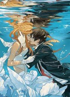 here we have a cute anime couple kissing underwater. what cuties.