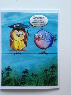 Card: Crazy bird graduates