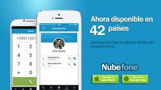 Nubefone es una app que permite llamar a teléfonos fijos y celulares de cualquier país, sin consumir datos. Nace en España como alternativa a aplicaciones como Line, Viber o Skype. Está disponible en 42 países, entre ellos México, búscala y descárgala! #miguelbaigts