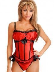 Lace Trims Overbust Corset Red Bustier Tops With Straps