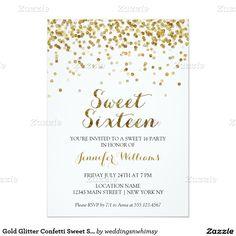 Gold Glitter Confetti Sweet Sixteen 16 Invitation / Sweet Sixteen Invite Birthday Party