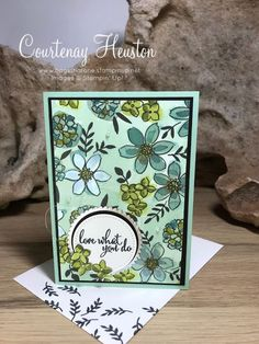 Bags That One!: Stampin' Up! Love What You Do - Blog Hop flower card, Share What You Love DSP, greeting card, green and white, Old Olive, Mossy Meadow, Tranquil Tide, 2018-2019 Annual Catalogue