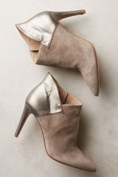 Hoss Intropia Heeled Leather and Suede Booties Mink 36 Euro Boots #anthrofave #anthropologie