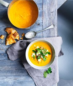 Austrlian Gourmet Traveller fast recipe for carrot soup with feta and quinoa.