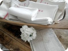 Linens in a dough bowl (from Alabaster Rose Lifestyle)