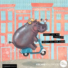 "Art is propaganda for what really matters."" –Alain De Botton, philosopher artist statement i like to think of my art as candy-coated whimsy sprinkled with profundity. House Hippo, Fiona The Hippo, Cartoon Hippo, Rhino Art, Together Lets, Pottery Painting, Art Model, Beautiful Creatures, Comic Art"