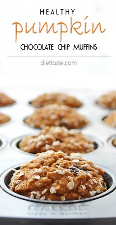 Healthy Pumpkin Chocolate Chip Muffins - only 160 calories per muffin makes them perfect breakfast, on-the-go snack or dessert for kids and adults - diettaste.com