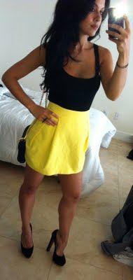 Zara high waist skirt, Target tank, Louboutin bibi pumps, Made Her Think talon ring, and Rebecca Minkoff mini chain bag