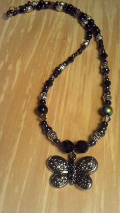 Silver+and+Black+Glass+Beaded+19+Inch+Necklace+by+FlowerFelicity,+$16.00