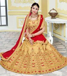 Beige Bhagalpuri Silk Bridal Lehengacholi Shops