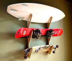 Bambou, planche de surf Snowboard Skateboard Rack - Rack Triple