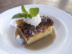 Bread pudding. Brandy Crème Anglaise & whipped Cream