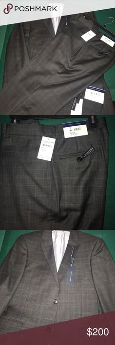 Tommy Hilfiger trim fit suit New never worn with tags, Gray plaid suit with pants. Pants size is 33/32 Tommy Hilfiger Jackets & Coats