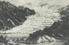 The Pink and White Terraces were destroyed in the Tarawera eruption Terraces, New Zealand, Home And Family, Around The Worlds, Pink, Travel, Outdoor, Outdoors, Decks