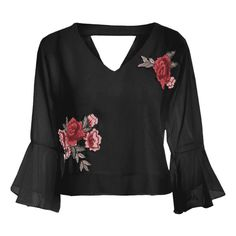 Plus Size Cut Out Flare Sleeve Embroidered Top (85910 PYG) ❤ liked on Polyvore featuring tops, cut-out shoulder tops, womens plus tops, cut out detail top, plus size tops and embroidery top