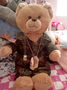 "Military Build A Bear. ""Key to my heart"" #Army #coupon code nicesup123 gets 25% off at Provestra.com Skinception.com"