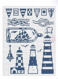 Filet crochet lighthouse ~ I want to crochet a lighthouse dishcloth & towel set, but can't find a decent pattern ~ Maybe I can use these? Cross Stitch Sea, Cross Stitch Samplers, Cross Stitch Charts, Cross Stitching, Cross Stitch Embroidery, Embroidery Patterns, Funny Cross Stitch Patterns, Cross Stitch Designs, Filet Crochet
