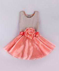 Another great find on #zulily! Pink & Gray Festive Orangza Peplum Dress - Toddler & Girls #zulilyfinds