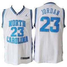 bc2ccb8f7e9 Michael Jordan North Carolina  23 White Jersey