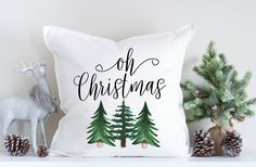 Christmas Tree, Christmas Pillow, Holiday Decor, Christmas Decorations, Throw Pillow, Modern Christmas, Evergreen Trees, Winter Decor by 42ndStDesigns on Etsy https://www.etsy.com/listing/491099533/christmas-tree-christmas-pillow-holiday