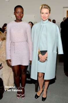 Fabulously Spotted: Lupita Nyong'o & Naomi Watts - Calvin Klein Collection Fall 2014 Front Row - http://www.becauseiamfabulous.com/2014/02/lupita-nyongo-naomi-watts-calvin-klein-collection-fall-2014-front-row/