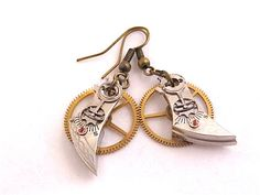Steampunk  Watch parts earrings  Reboot  by steampunkjunq on Etsy, #steampunk #earrings