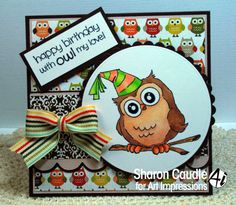 Art Impressions Rubber Stamps: Birthday Whoot (Sku#M4120) Handmade owl card.