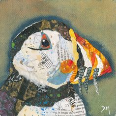 Puffin 15 Original Framed Torn Paper Collage Art by DawnsGallery