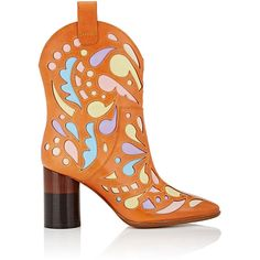 Maison Margiela Women's Laser-Cut Leather Western Boots ($949) ❤ liked on Polyvore featuring shoes, boots, ankle booties, ankle boots, orange, cowboy boots, leather cowboy boots, block heel ankle boots and block heel booties