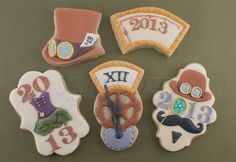steampunk new years eve cookies by Semi Sweet Designs