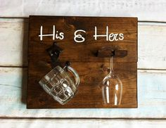 His & Hers Beer Opener/ Beer mug and wine glass holder How