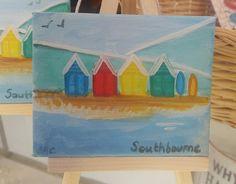 Mini easel original artwork #southbourne #beach #beachhuts  #sand #holiday #vacation