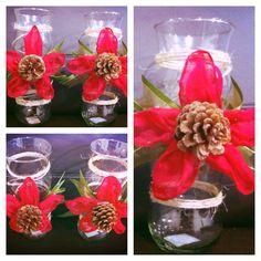 Reciclado Navidad Floreros de cristal Bufanda Piñones  Retazos de liston!