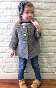 Girl grey knitted coat / Hand knitted wool cardigan / Toddler sweater / Heather grey top / Childrens sweater / Knit coat