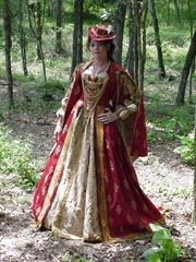 Red and Gold Brocade Elizabethan with Hanging Sleeves and Feathered Chapeau -$600