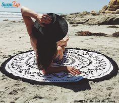 Round Beach Towel - Black and White Circle Towel | SwimZip Rash Guard Swimwear