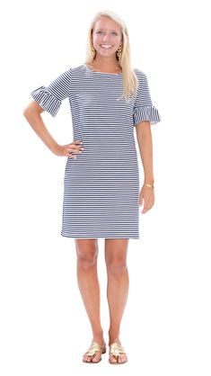 Dockside Dress - White/Navy Stripe